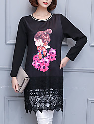 Women's Plus Size Going out Simple Shift Dress,Print Lace Round Neck Above Knee Long Sleeve Polyester Others Black Spring Mid Rise