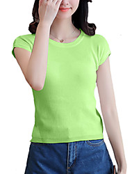 Women's Going out Casual/Daily Simple Street chic Summer T-shirtSolid Round Neck Short Sleeve White Green ArmyGreen