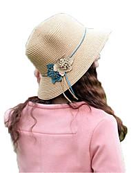 женщины вскользь цветочная соломенная шляпа середина Бреет шляпа от солнца