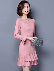 Women's Going out Party Sexy Sophisticated Trumpet/Mermaid Dress,Solid Round Neck Above Knee Long Sleeve Pink Black Polyester