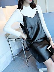 Sign # 4457 Primavera novas mulheres&# 39; s novas mulheres camisola&# 39; s de duas peças maré topos de couro camisole