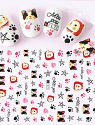 1pcs 3D Nail Stickers Lovely Cartoon Image Colorful Cute Cat Leopard Cat Nail Art Tips Design Manicure Beauty F071-078