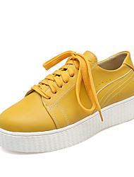 Sneakers Spring Summer Fall Comfort Leatherette Dress Casual Platform Lace-up Yellow White Beige