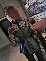 Sign new winter lace stitching bottoming Slim PU leather jacket