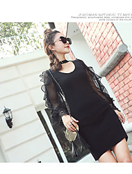 Sign Korean temperament lotus sleeve chiffon stitching knit long-sleeved dress package hip halter