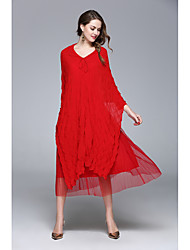 ZRANFANG  Going out Formal Holiday Sexy Cute Street chic Swing DressSolid V Neck Asymmetrical  Sleeve Polyester Red Black All Seasons Mid Rise