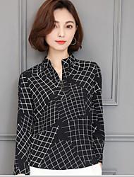 знак шифона рубашку женщин с длинными рукавами рубашки корейской версии 2017 года весеннего дикого износа V-образным вырезом рубашки