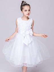 Vestido de vestidos de baile vestido de flor vestido de organza - organza jóia sem mangas pescoço com arco (s)