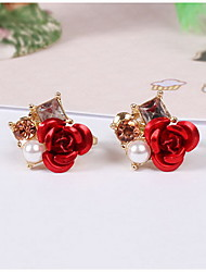 Clip Earrings Jewelry Pearl Resin Simulated Diamond Alloy Luxury Jewelry Red Jewelry Daily Casual 1 pair