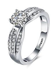 Ringe Besondere Anlässe Alltag Normal Schmuck Zirkon Kupfer versilbert Ring Verlobungsring 1 Stück,6 7 8 9 Silber