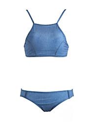 Women's Halter Tankini,Solid Denim Blue