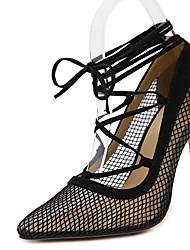 Feminino-Saltos-Sapatos clube-Salto Agulha-Preto-Microfibra-Social