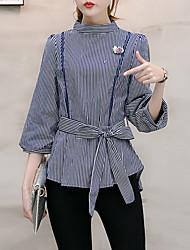 Damen Gestreift Retro Street Schick Anspruchsvoll Ausgehen Formal Arbeit Hemd,Rundhalsausschnitt Frühling Sommer ¾-Arm Blau Schwarz Andere