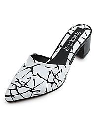 Slippers & Flip-Flops-Lässig-PU-Blockabsatz-Komfort-Schwarz Rot Weiß