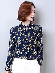 Women's Simple Blouse,Solid Floral Shirt Collar Long Sleeve Cotton