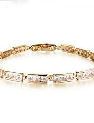 Chain Bracelet Zircon Copper Rhinestone Gold Plated Fashion Luxury Jewelry Jewelry White Rainbow Jewelry 1pc