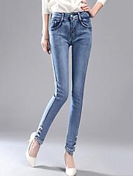 Damen Übergrössen Skinny Jeans Chinos Hose-Lässig/Alltäglich Street Schick Druck Perlenbesetzt Bestickt Mittlere HüfthöheReisverschluss