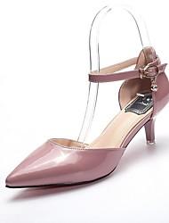 Damen-Sandalen-Kleid Lässig Party & Festivität-Lackleder-Stöckelabsatz-Komfort Club-Schuhe-Rot Weiß Mandelfarben Hellrosa Light Purple