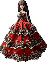 Princesse Robes Pour Poupée Barbie Rouge Lace Robes Pour Fille de Jouets DIY