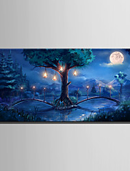 E-HOME Stretched LED Canvas Print Art The Woods Of The Bridge LED Flashing Optical Fiber Print One Pcs