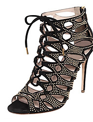 Sandals Summer Gladiator Fleece Office & Career Party & Evening Dress Casual Stiletto Heel Rhinestone Zipper Lace-up Black
