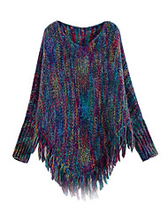 Damen Standard Pullover-Lässig/Alltäglich Einfach Einfarbig Lila Mit Kapuze Langarm Polyester Frühling Winter Dick Mikro-elastisch