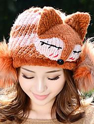 Woman Autumn Winter Cartoon Fox Fur Woven Winter Warm Knitted Wool Cap