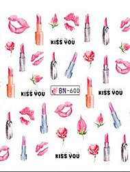 1pcs Cute Lipstick Lips Design Nail Art Water Transfer Decals Nail Art Beauty Design BN600