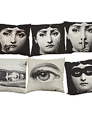 Set of 6 Lina Cavalieri pattern   Linen Pillow Case Bedroom Euro Pillow Covers 18x18 inches Cushion cover