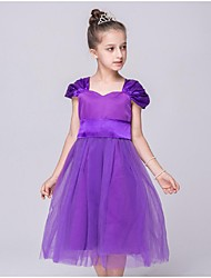 Ball Gown Tea-length Flower Girl Dress - Organza Short Sleeve Off-the-shoulder with Ruching