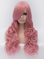 Cosplay Wigs Pink Color Wig Wigs in Europe and America Fashion Partial Points Gradient 24 inch Long Curly Hair