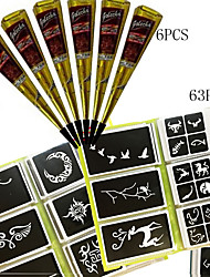 6 pcs Black Henna + 63PCS Full Stencil, Mehndi Body Art Set, Tattoo Paste Cones Sexy