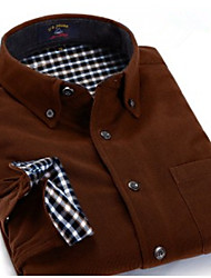 U&Shark Men's  Soft Business Long Sleeve Shirt with  Retro Corduroy of OLive brown/DXR028