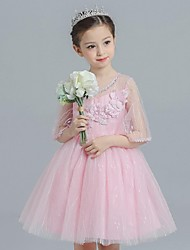 Ball Gown Short / Mini Flower Girl Dress - Organza Jewel with Appliques Bow(s)