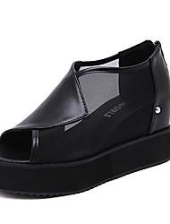 Flats Spring Comfort PU Casual Flat Heel Split Joint Black