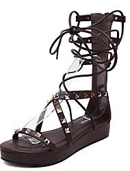 gladiador sandálias de verão pu ocasional rebite calcanhar plana