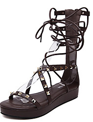 Sandals Summer Gladiator PU Casual Flat Heel Rivet