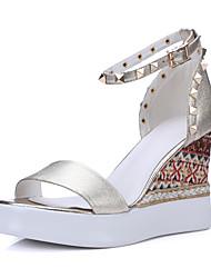 Damen-Sandalen-Hochzeit Büro Kleid-Leder-Keilabsatz-Andere-Gold Mandelfarben