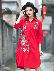 camisa bordados étnicos grandes estaleiros longa seção de mulheres&# 39; s Primavera literária camisa retro high-end t-shirt