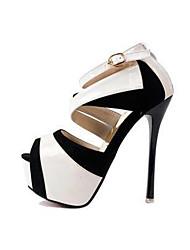 Mujer-Tacón Stiletto-Confort-Tacones-Vestido Fiesta y Noche-Goma Semicuero-Blanco Oro