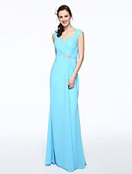 LAN TING BRIDE Floor-length Off-the-shoulder Bridesmaid Dress - Elegant Sleeveless Chiffon