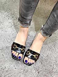 Черный МиндальныйДля праздника-Полиуретан-На плоской подошве-клуб Обувь-Сандалии