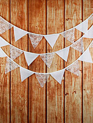 3.2m 12Flags White  Banner Pennant Lace Bunting Banner Booth Props Photobooth Birthday Wedding Party Decoration