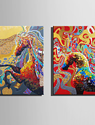 E-HOME Oil painting Modern Abstract colored Horse Series 6 Pure Hand Draw Frameless Decorative Painting