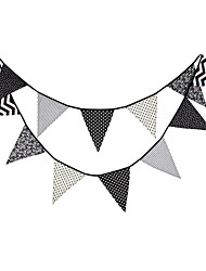 3.6m 12Flags Black And White Pattern Banner Pennant Cotton Bunting Banner Booth Props Photobooth Birthday Wedding Party Decoration