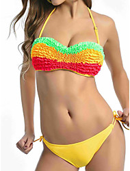 Women's Halter Tankini,Color Block Spandex Pink Blue Green Yellow