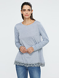 Damen T-Shirt  -  Spitze Baumwolle / Polyester Langarm Rundhalsausschnitt