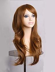 Fashion Dark Brown Long Wavy Girls Wig Synthetic Lolita Women Cosplay Wig 4 Colors