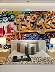 Art Deco Wallpaper For Home Wall Covering Canvas Adhesive Required Mural Graffiti Color Exaggerated Note KTV background XXXL(448*280cm)