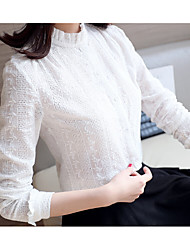 Women's Formal Sexy Blouse,Solid Round Neck Long Sleeve White Cotton